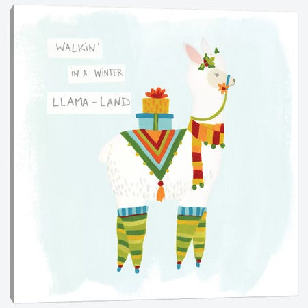 Fa-la-la-la Llama II Canvas Print #JEV520} by June Erica Vess Art Print