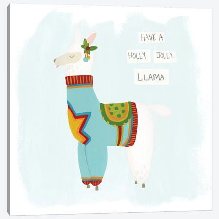 Fa-la-la-la Llama IV Canvas Print #JEV522} by June Erica Vess Canvas Art Print