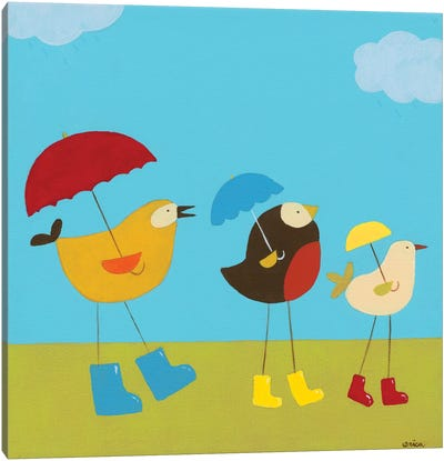 Rainy Day Birds I Canvas Print #JEV54