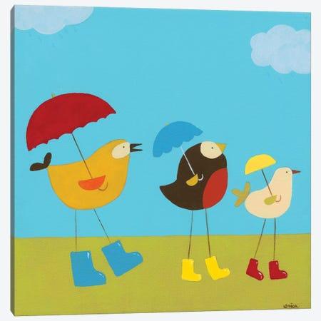 Rainy Day Birds I Canvas Print #JEV54} by June Erica Vess Canvas Wall Art