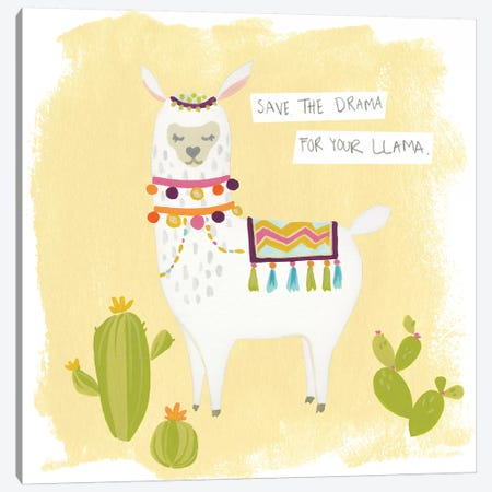 Pom-Pom Llama Rama I Canvas Print #JEV621} by June Erica Vess Canvas Wall Art