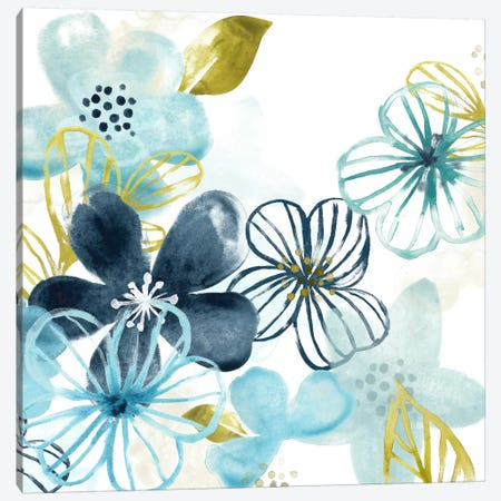 Aqua Flora I Canvas Print #JEV67} by June Erica Vess Art Print