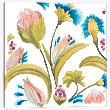 Abbey Floral Tiles I Canvas Print #JEV684} by June Erica Vess Canvas Art Print