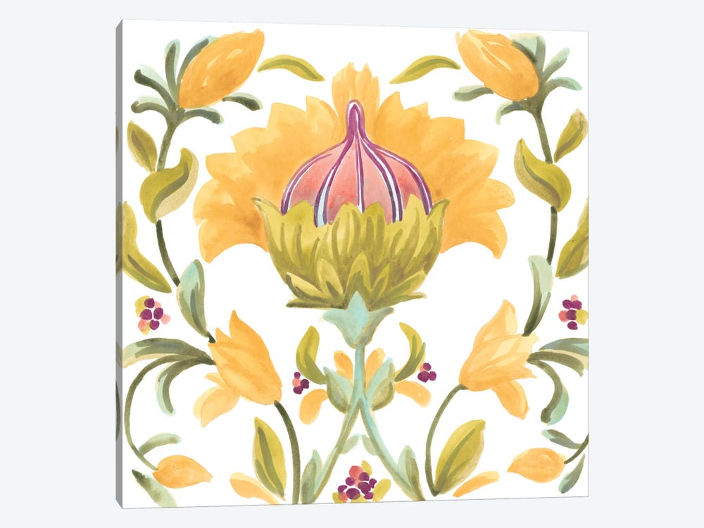 Abbey Floral Tiles V by June Erica Vess 1-piece Canvas Print