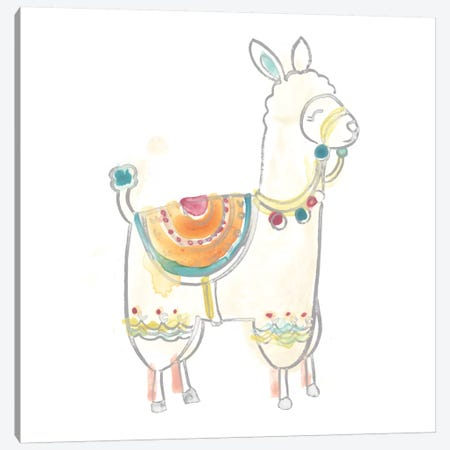 Blockprint Llama I Canvas Print #JEV703} by June Erica Vess Canvas Art Print