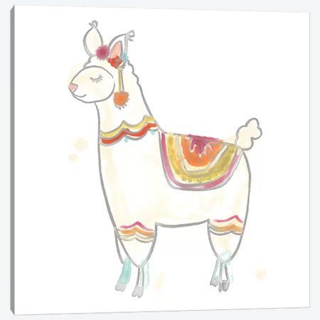 Blockprint Llama II Canvas Print #JEV704} by June Erica Vess Canvas Wall Art