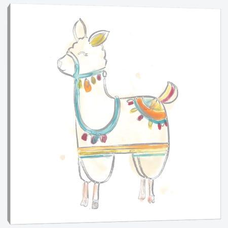 Blockprint Llama III Canvas Print #JEV705} by June Erica Vess Canvas Wall Art