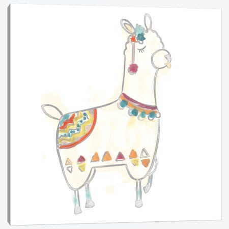 Blockprint Llama IV Canvas Print #JEV706} by June Erica Vess Canvas Wall Art