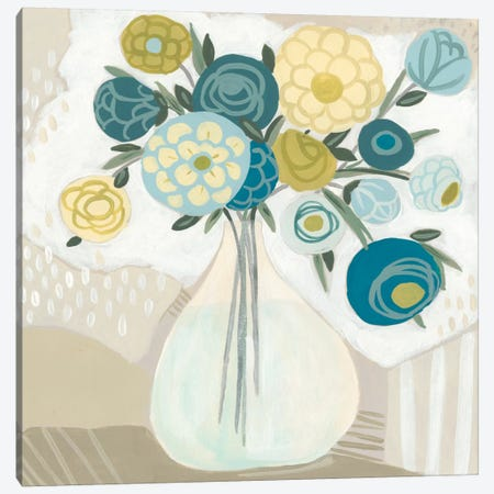 Blue Bohemian Bouquet I Canvas Print #JEV707} by June Erica Vess Canvas Artwork