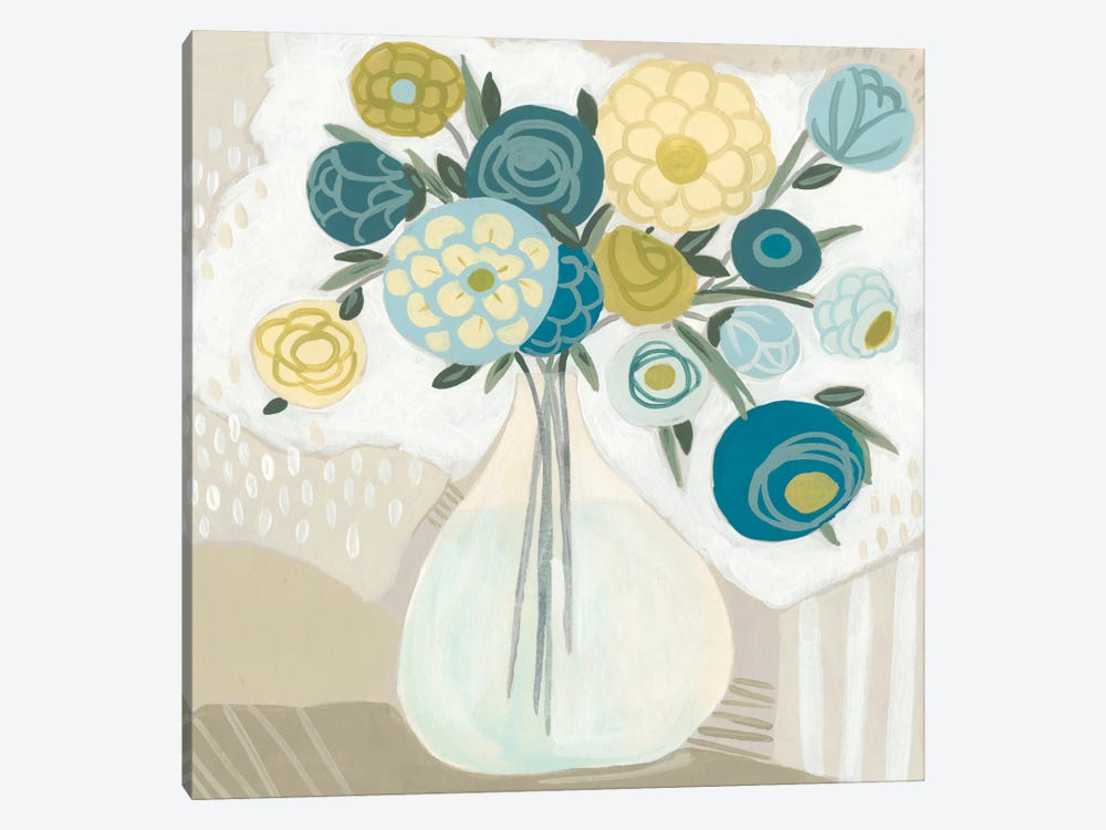 Blue Bohemian Bouquet I by June Erica Vess 1-piece Canvas Artwork