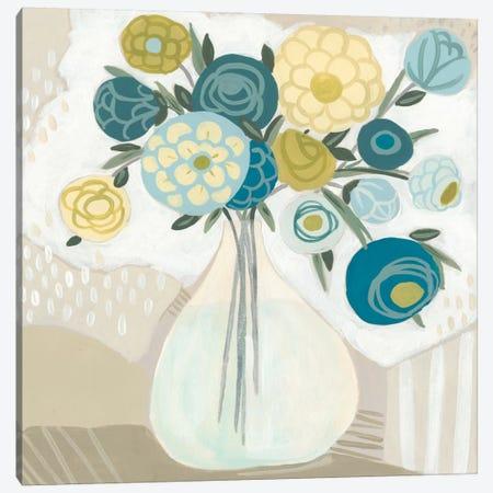 Blue Bohemian Bouquet I Canvas Print #JEV707} by June Erica Vess Canvas Artwork