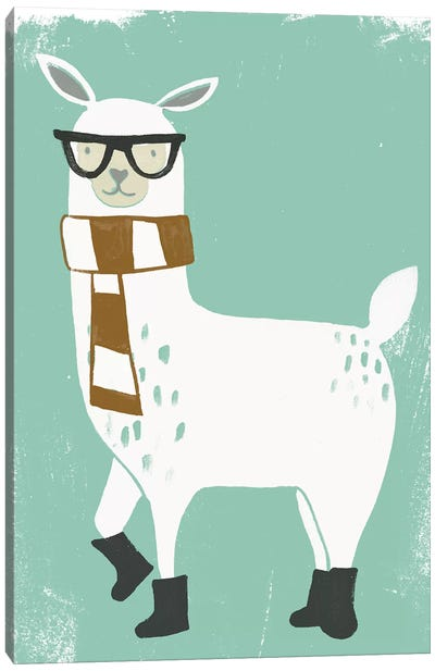 Bundle Up Llama II Canvas Art Print