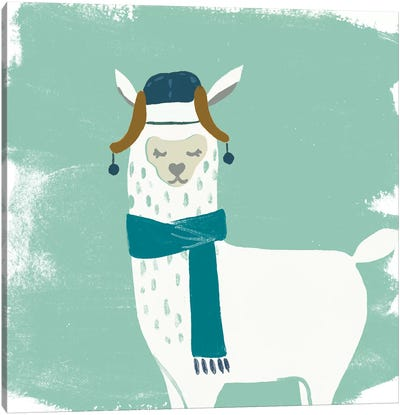 Bundle Up Llama III Canvas Art Print