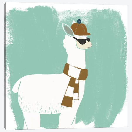Bundle Up Llama IV Canvas Print #JEV716} by June Erica Vess Art Print