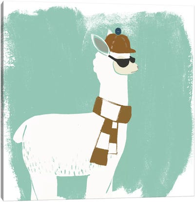 Bundle Up Llama IV Canvas Art Print