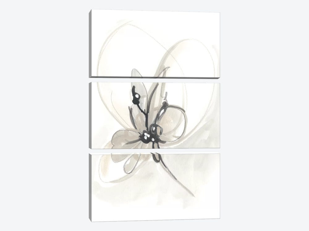 Neutral Floral Gesture VI by June Erica Vess 3-piece Canvas Art Print