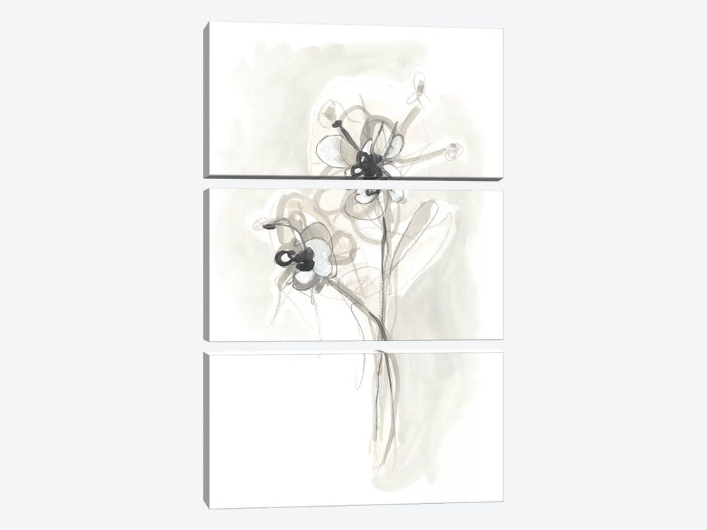 Neutral Floral Gesture VII by June Erica Vess 3-piece Canvas Wall Art