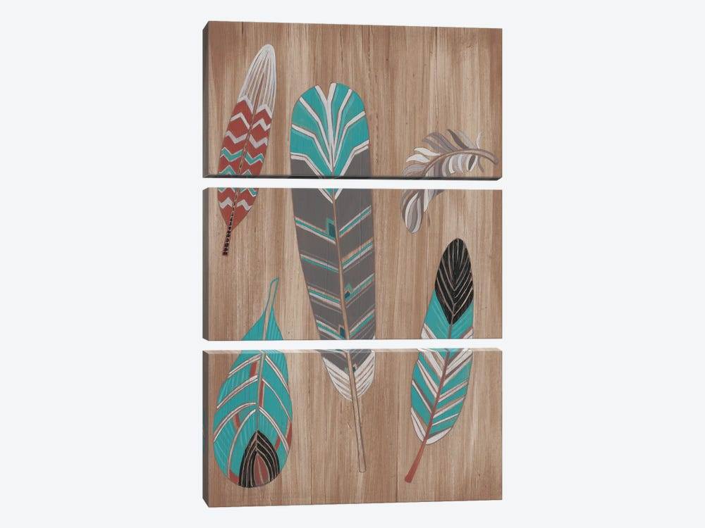 Driftwood Feathers I by June Erica Vess 3-piece Canvas Print