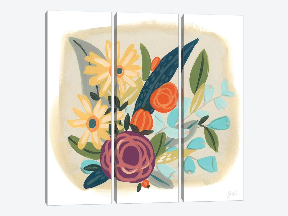 Pop Posy I by June Erica Vess 3-piece Canvas Wall Art
