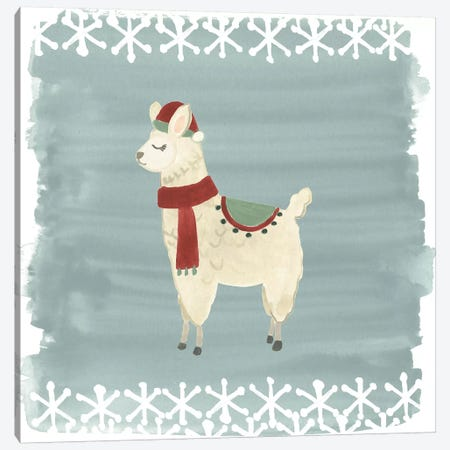 Winter Wonder Llama II Canvas Print #JEV880} by June Erica Vess Canvas Wall Art