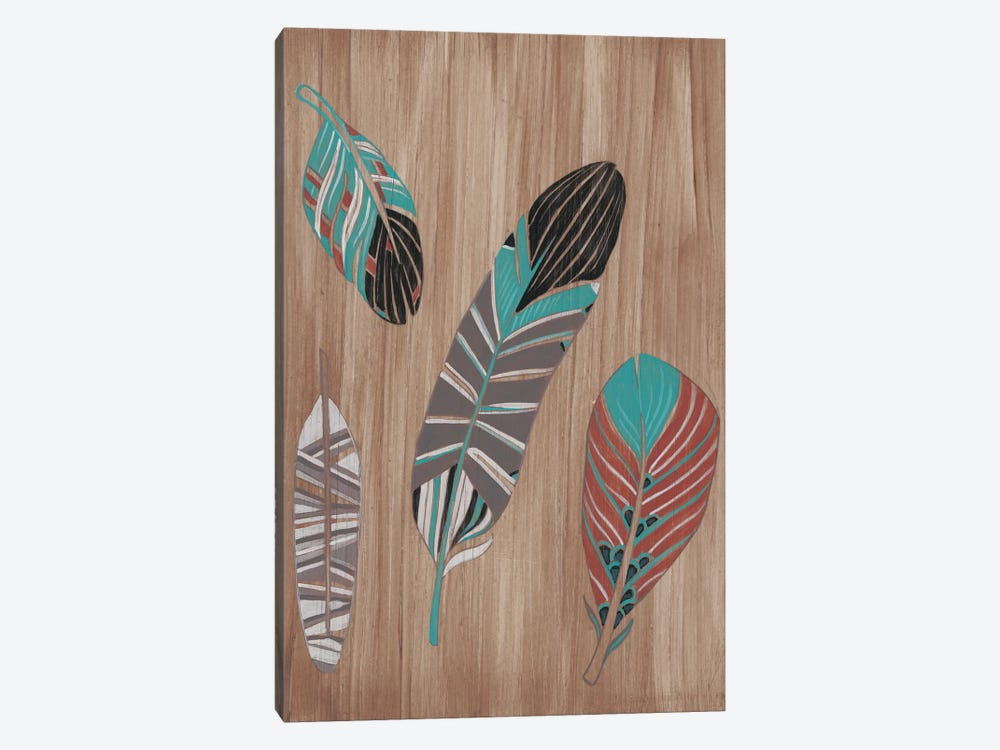 Driftwood Feathers II by June Erica Vess 1-piece Canvas Wall Art