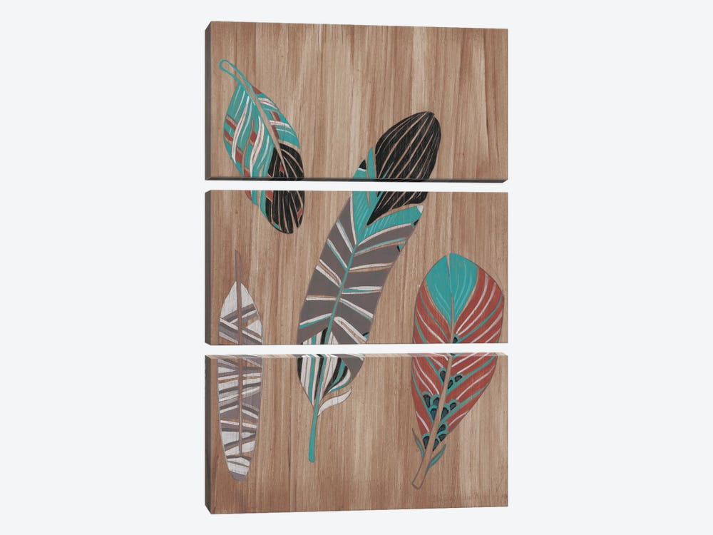 Driftwood Feathers II by June Erica Vess 3-piece Canvas Artwork