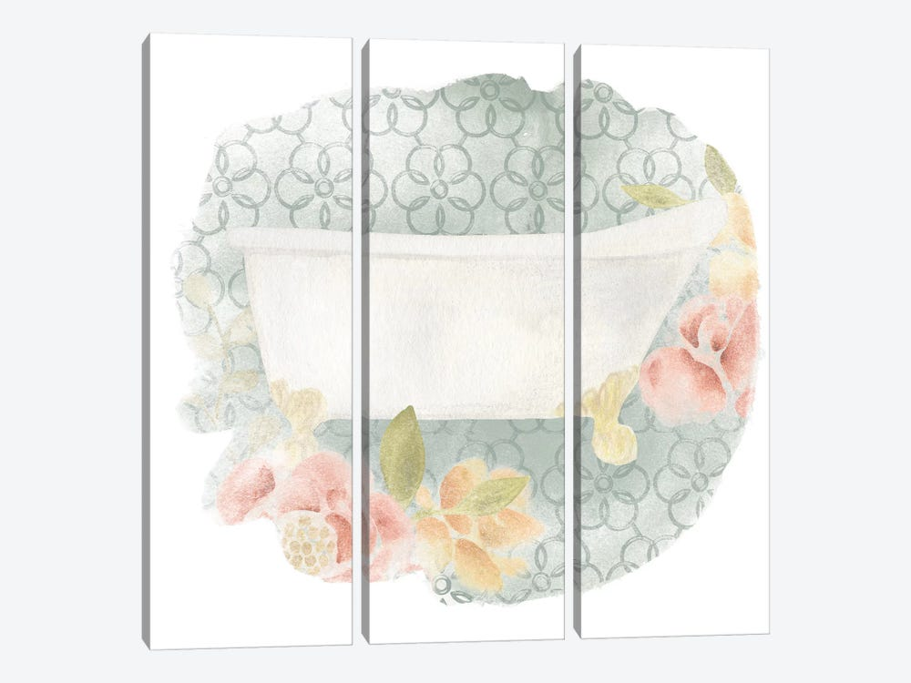 Garden Romance Bath II by June Erica Vess 3-piece Canvas Wall Art
