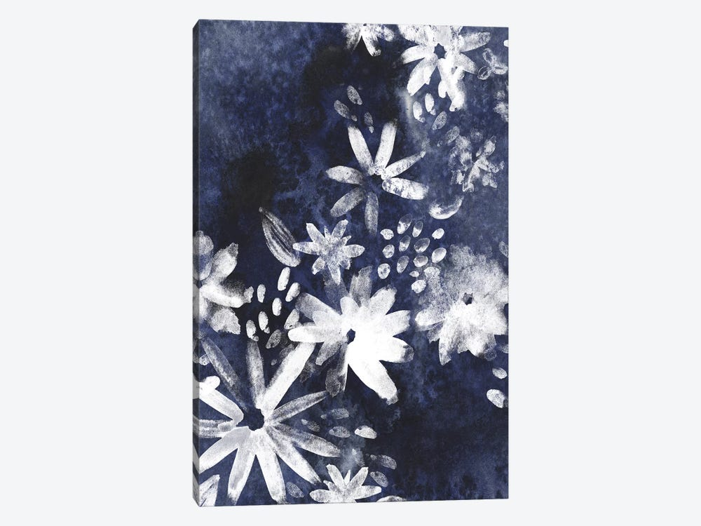 Indigo Floral Gesture I by June Erica Vess 1-piece Canvas Wall Art