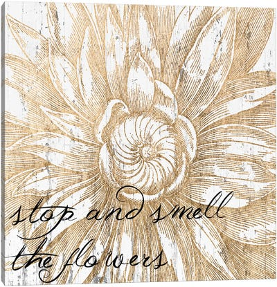 Metallic Floral Quote I Canvas Art Print