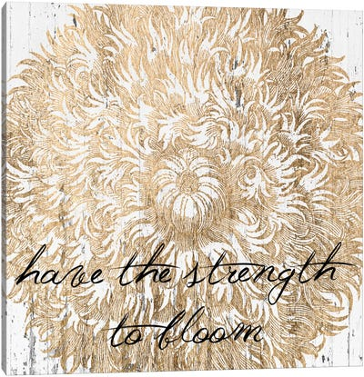 Metallic Floral Quote II Canvas Art Print