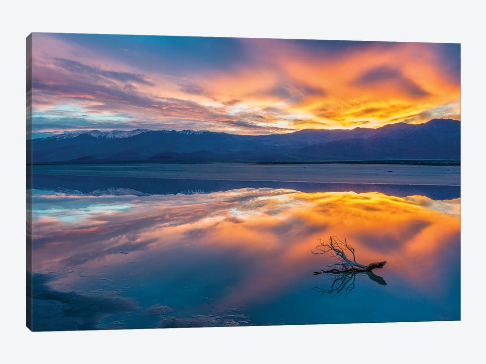 Water in pan at sunrise, Cottonball Basin, Death Valley National Park, California by Jeff Foott 1-piece Art Print
