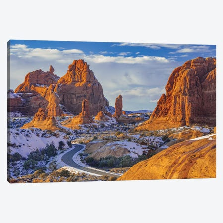Winding road and sandstone formations, La Sal Mountains, Arches National Park, Utah Canvas Print #JFF108} by Jeff Foott Canvas Art