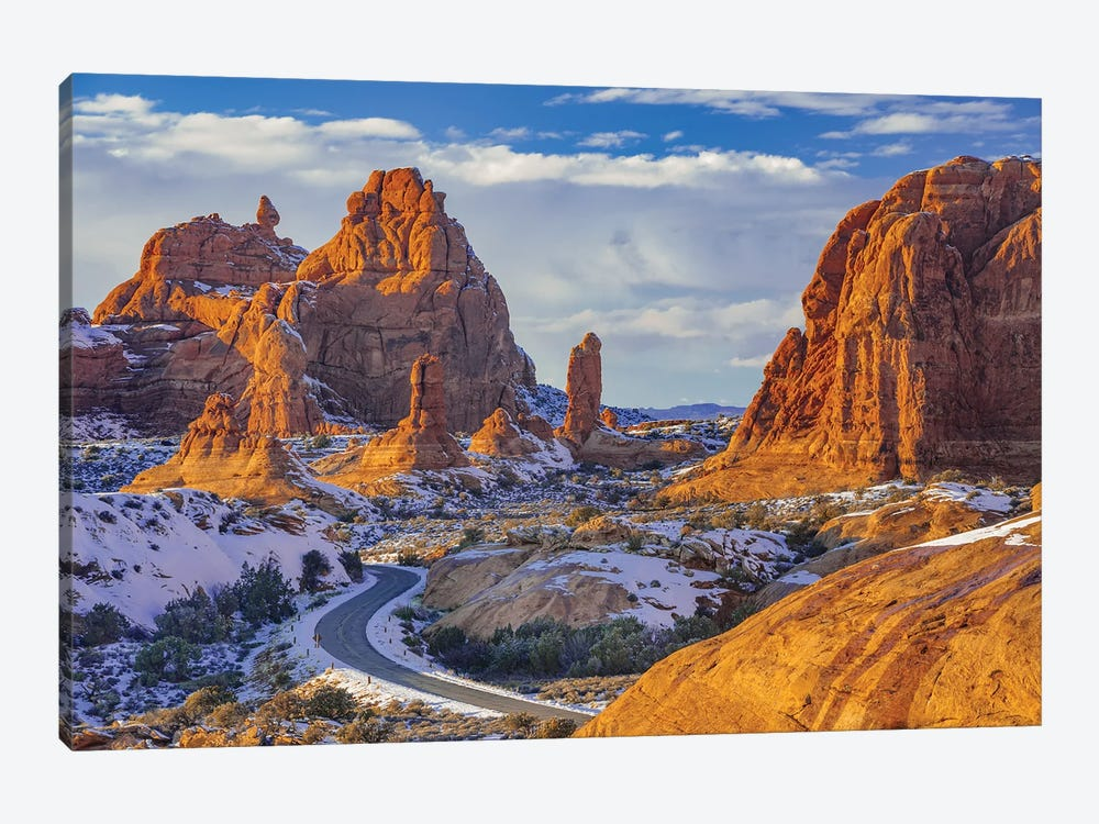 Winding road and sandstone formations, La Sal Mountains, Arches National Park, Utah by Jeff Foott 1-piece Canvas Print