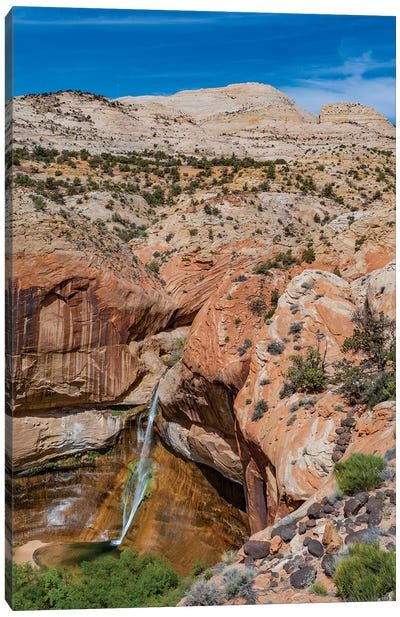 Waterfall In Desert, Calf Creek Falls, Grand Staircase-Escalante National Monument, Utah Canvas Art Print