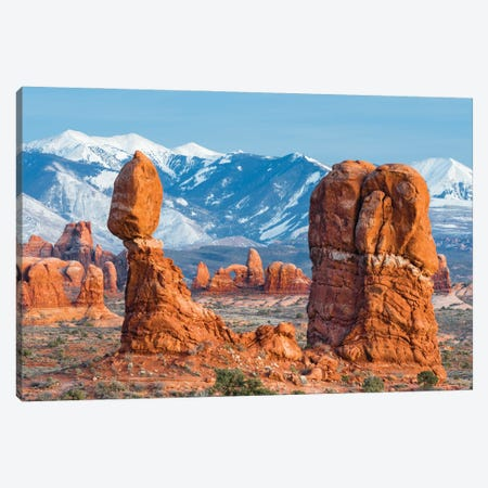 Balanced Rock with Turret Arch and La Sal Mountains, Arches National Park, Utah Canvas Print #JFF13} by Jeff Foott Canvas Print