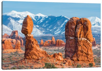 Balanced Rock with Turret Arch and La Sal Mountains, Arches National Park, Utah Canvas Art Print