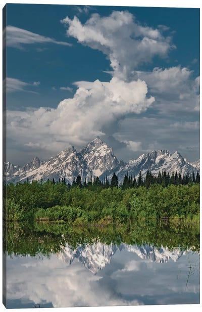 Clouds over Grand Teton Range near wetland, Grand Teton National Park, Wyoming Canvas Art Print