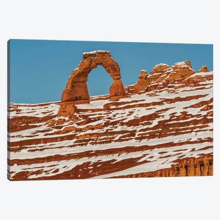 Delicate Arch in winter, Arches National Park, Utah Canvas Print #JFF30} by Jeff Foott Art Print