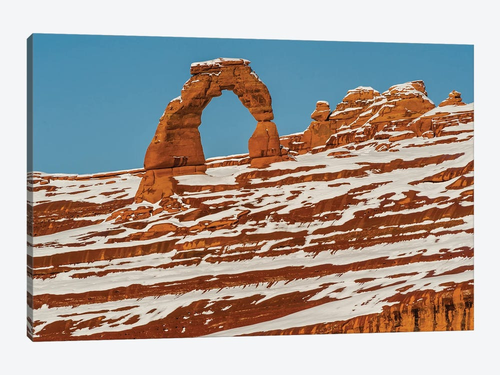 Delicate Arch in winter, Arches National Park, Utah by Jeff Foott 1-piece Canvas Wall Art