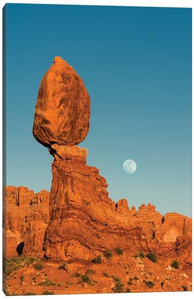 Full moon and Balanced Rock, Arches National Park, Utah Canvas Art Print