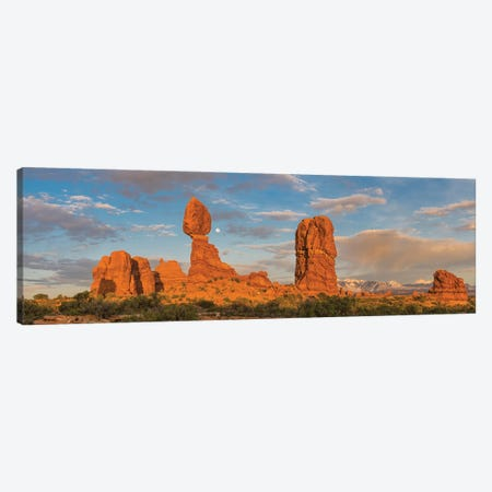 Full moon and Balanced Rock, Arches National Park, Utah Canvas Print #JFF46} by Jeff Foott Canvas Print