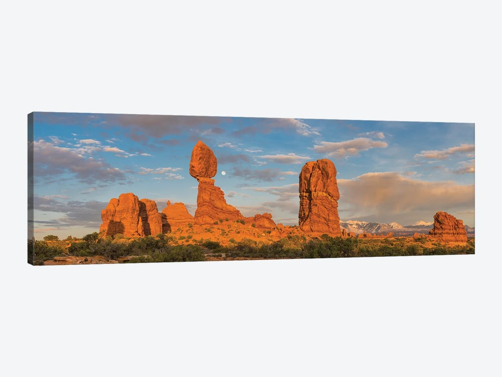 Full moon and Balanced Rock, Arches National Park, Utah by Jeff Foott 1-piece Canvas Print