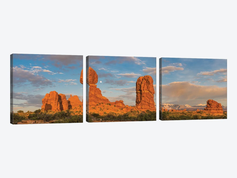 Full moon and Balanced Rock, Arches National Park, Utah by Jeff Foott 3-piece Art Print