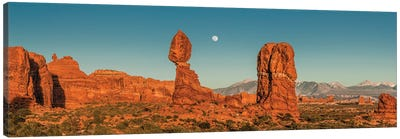 Full moon over Balanced Rock formation, Arches National Park, Utah Canvas Art Print