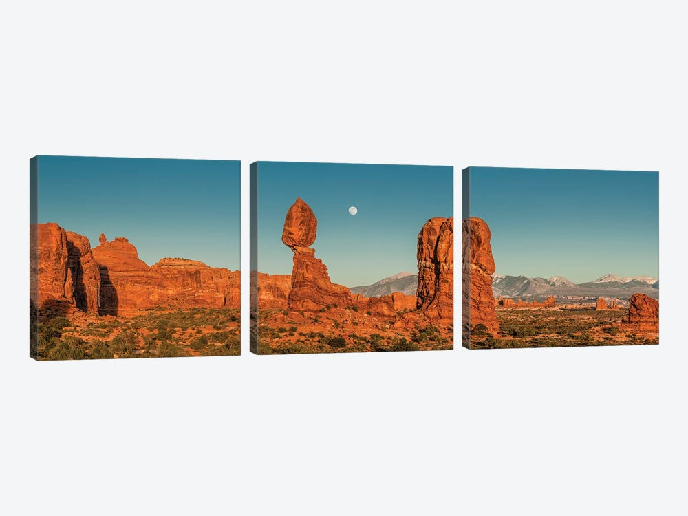 Full moon over Balanced Rock formation, Arches National Park, Utah by Jeff Foott 3-piece Canvas Art