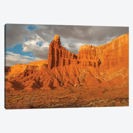Rock formation at sunset, Chimney Rock, Capitol Reef National Park, Utah Canvas Print #JFF75} by Jeff Foott Canvas Wall Art