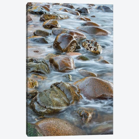 Round rocks in surf, Boulder Beach, Acadia National Park, Maine Canvas Print #JFF78} by Jeff Foott Canvas Print