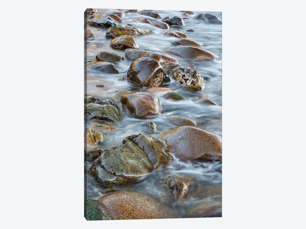 Round rocks in surf, Boulder Beach, Acadia National Park, Maine by Jeff Foott 1-piece Canvas Wall Art