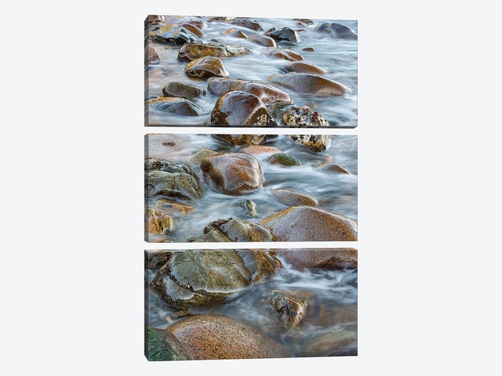 Round rocks in surf, Boulder Beach, Acadia National Park, Maine by Jeff Foott 3-piece Canvas Wall Art
