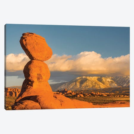 Sandstone formation, La Sal Mountains, Arches National Park, Utah Canvas Print #JFF80} by Jeff Foott Canvas Art